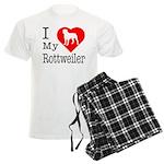 I Love My Rottweiler Men's Light Pajamas