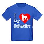 I Love My Rottweiler Kids Dark T-Shirt
