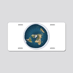 flat earth map Aluminum License Plate