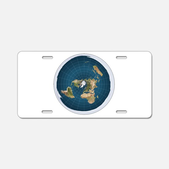 flat earth map Aluminum License Plate