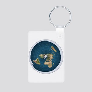 flat earth map Keychains