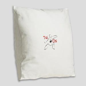 Tai Chi Burlap Throw Pillow