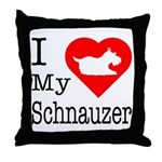 I Love My Schnauzer Throw Pillow