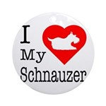 I Love My Schnauzer Ornament (Round)