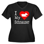 I Love My Schnauzer Women's Plus Size V-Neck Dark