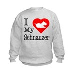 I Love My Schnauzer Kids Sweatshirt