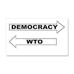 Democracy vs WTO Car Magnet 20 x 12