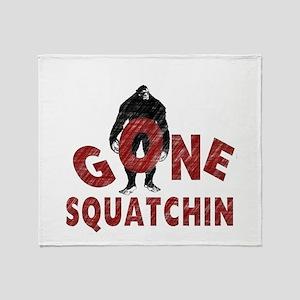 Gone Squatchin (red) Throw Blanket