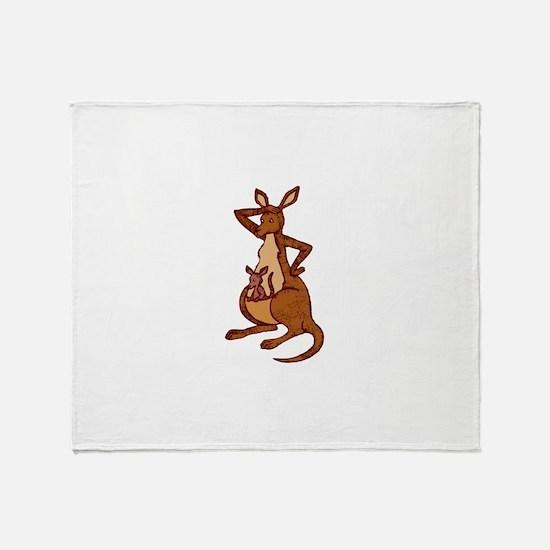 Kangaroo with baby Throw Blanket