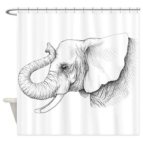 Elephant Profile Drawing Shower Curtain By Alabamagulfcoast