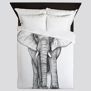 Elephant Drawing Queen Duvet