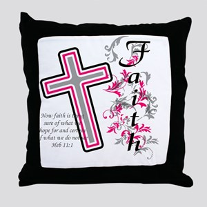 Faith with cross Throw Pillow