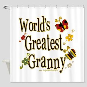 Granny Butterflies Shower Curtain