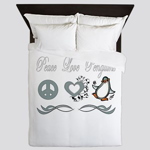 Peace Love Penguins Queen Duvet