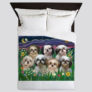 7 Shih Tzus in Moonlight Queen Duvet