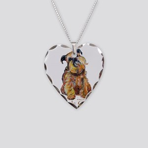 Brussels Griffon Necklace Heart Charm
