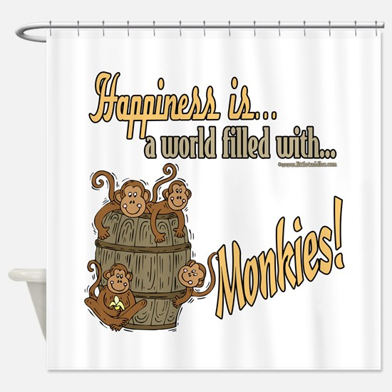 Happiness is a monkey Shower Curtain