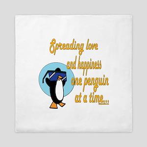 Spreading Love Penguins Queen Duvet
