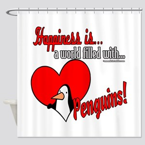 Happiness is penguins Shower Curtain