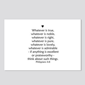 PHILIPPIANS 4:8 Postcards (Package of 8)