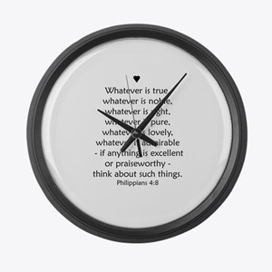 PHILIPPIANS 4:8 Large Wall Clock