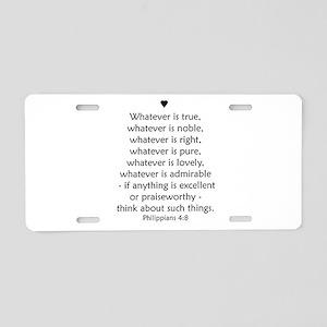 Philippians 4:8 Aluminum License Plate