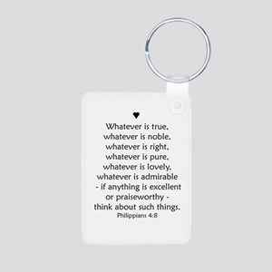 Philippians 4:8 Aluminum Photo Keychain
