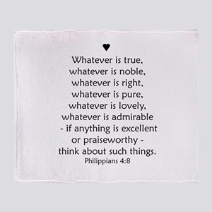 Philippians 4:8 Throw Blanket