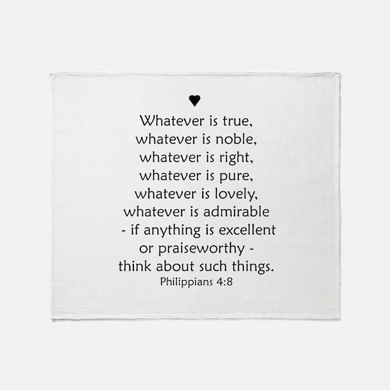 Philippians 4:8 Throw Blanket
