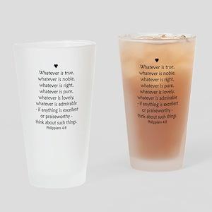 Philippians 4:8 Drinking Glass