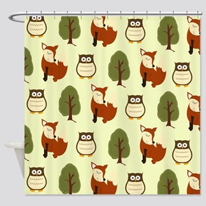 Fox and Owl Shower Curtain - Earth color
