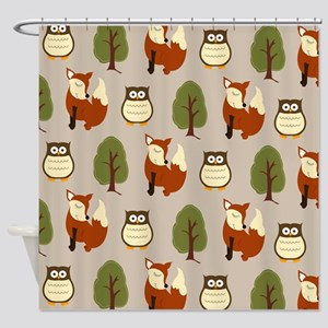 Fox and Owl Shower Curtain - Taupe