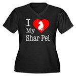 I Love My Shar Pei Women's Plus Size V-Neck Dark T
