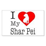 I Love My Shar Pei Sticker (Rectangle)