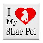 I Love My Shar Pei Tile Coaster