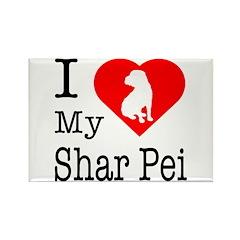 I Love My Shar Pei Rectangle Magnet