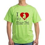 I Love My Shar Pei Green T-Shirt