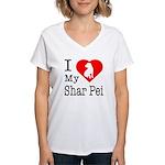 I Love My Shar Pei Women's V-Neck T-Shirt