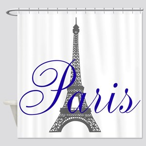 Paris Always (blue) Shower Curtain
