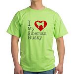 I Love My Siberian Husky Green T-Shirt
