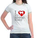 I Love My Siberian Husky Jr. Ringer T-Shirt