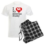 I Love My Siberian Husky Men's Light Pajamas