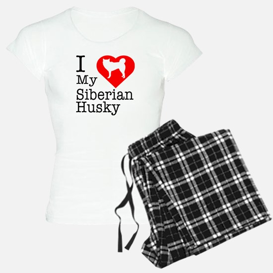 I Love My Siberian Husky Pajamas