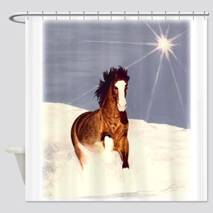 Starlight Snow Run Shower Curtain