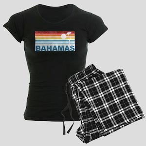 Retro Bahamas Palm Tree Women's Dark Pajamas