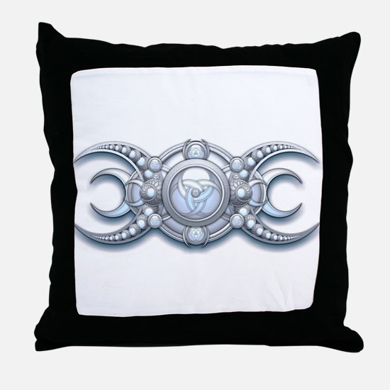Ornate Wiccan Triple Goddess Throw Pillow