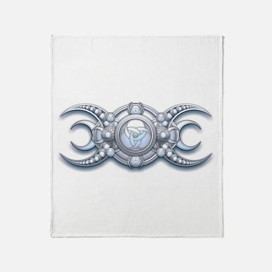 Ornate Wiccan Triple Goddess Throw Blanket