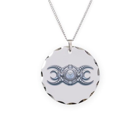 Ornate Wiccan Triple Goddess Necklace Circle Charm