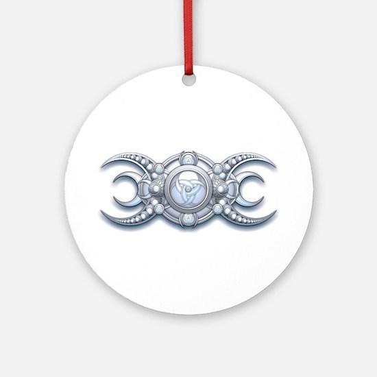 Ornate Wiccan Triple Goddess Ornament (Round)