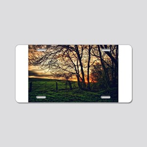 English Countryside Sunset HDR Aluminum License Pl